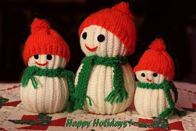 Three Knit Christmas Snowmen Poster by Linda Phelps