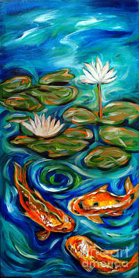 Three Koi Poster by Linda Olsen