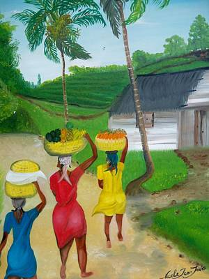 Three Ladies Going To The Marketplace Poster