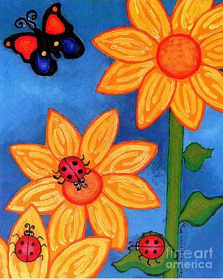 Three Ladybugs And Butterfly Poster by Genevieve Esson