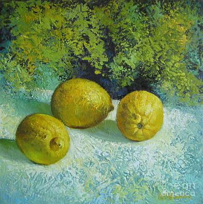 Poster featuring the painting Three Lemons by Elena Oleniuc