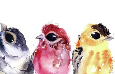 Poster featuring the painting Three Little Birds by Dawn Derman