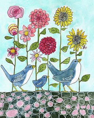 Three Little Birds Flowers Poster