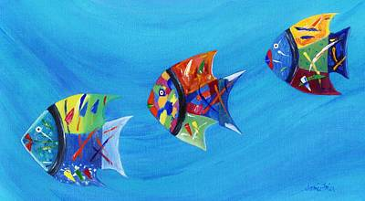 Poster featuring the painting Three Little Fishy's by Jamie Frier