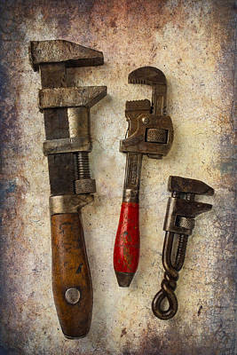 Three Old Worn Wrenches Poster