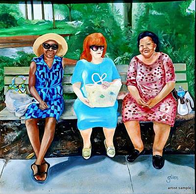Three On A Bench Poster