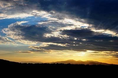 Three Peak Sunset Swirl Skyscape Poster