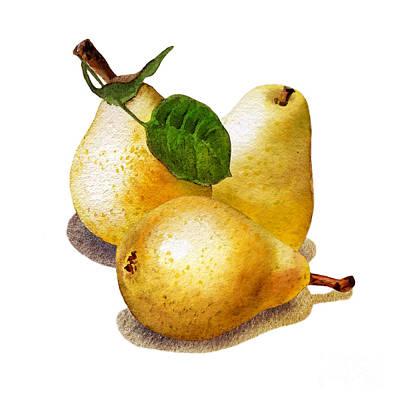 Three Pears Poster by Irina Sztukowski