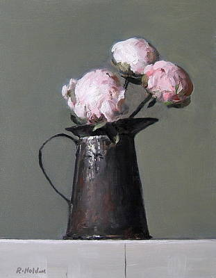 Three Peony Buds In Old Tin Can Poster
