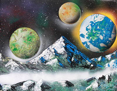 Poster featuring the painting Three Planets by Greg Moores