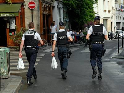 Three Policemen In Paris By Taikan Poster