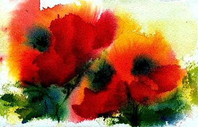 Three Poppies Poster by Anne Duke