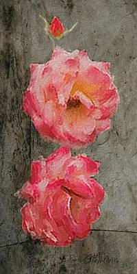 Poster featuring the digital art Three Roses by Dale Stillman
