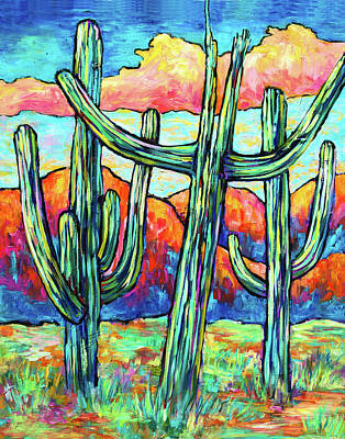 Three Saguaros Poster