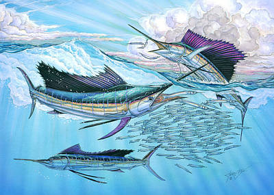 Three Sailfish And Bait Ball Poster by Terry  Fox