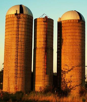 Three Silos At Daybreak Poster