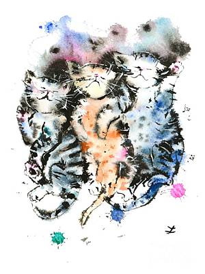 Three Sleeping Kittens Poster by Zaira Dzhaubaeva