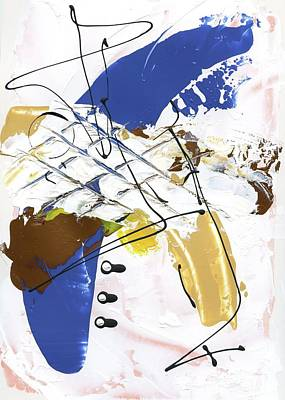 Poster featuring the painting Three Color Palette Blue 3 by Michal Mitak Mahgerefteh