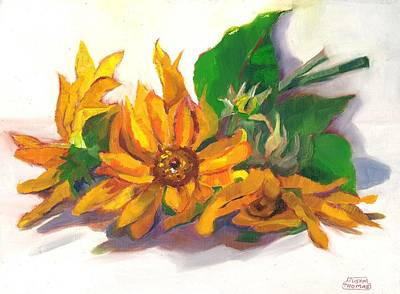 Poster featuring the painting Three Sunflowers by Susan Thomas