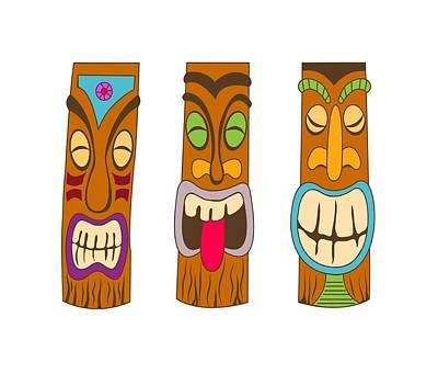 Three Tiki Smiling Statues Poster by Stevan Sos