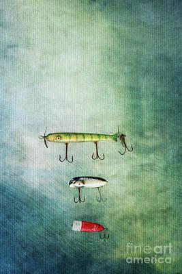 Three Vintage Fishing Lures Poster