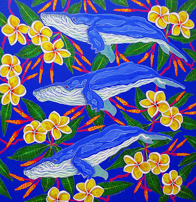 Poster featuring the painting Three Whales  by Debbie Chamberlin