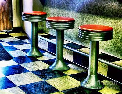 Three White Steamer Stools Poster