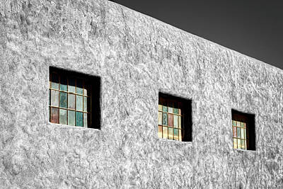 Three Windows In Taos #3 Poster by Stuart Litoff