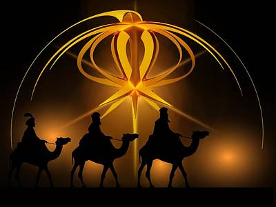 Three Wise Men Christmas Card Poster