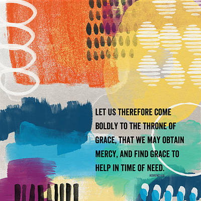 Throne Of Grace- Contemporary Christian Art By Linda Woods. Poster by Linda Woods