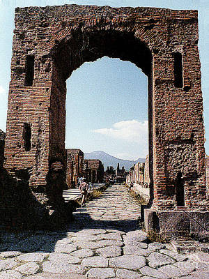 Poster featuring the photograph Through The Arched City Gate Into Reclaimed Pompei, Italy by Merton Allen