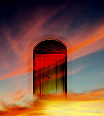 Poster featuring the digital art Through The Door by Katy Breen