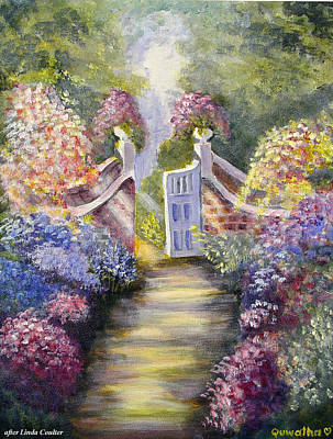 Poster featuring the painting Through The Garden Gate by Quwatha Valentine
