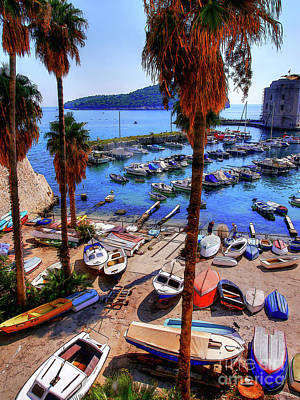 Poster featuring the photograph Through The Trees Dubrovnik Harbour by Lance Sheridan-Peel