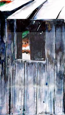 Poster featuring the drawing Thru The Barn Window by Seth Weaver