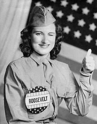 Thumbs Up For Roosevelt Poster by Underwood Archives
