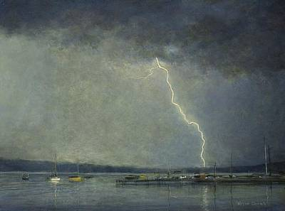 Poster featuring the painting Thunderstorm Over Cazenovia Lake by Wayne Daniels
