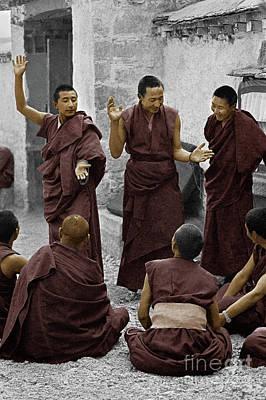 Tibetan Monks Debating - Sera Monastery, Lhasa Poster by Craig Lovell