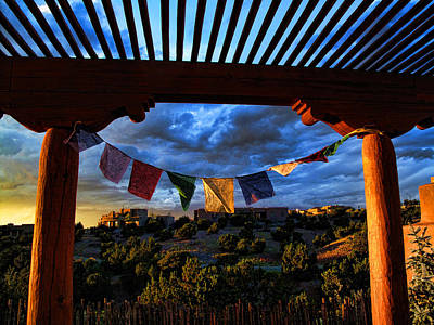 Poster featuring the photograph Tibetan Prayer Flags Outside My Office At Sundown by Paul Cutright