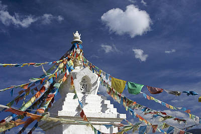 Tibetan Stupa With Prayer Flags Poster by Michele Burgess