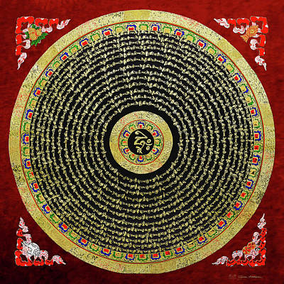Tibetan Thangka - Om Mandala With Syllable Mantra Over Red Poster
