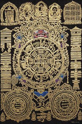 Tibetan Thangka - Tibetan Astrological Diagram Poster by Serge Averbukh
