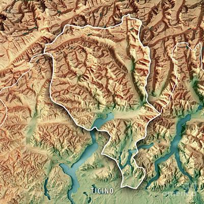 Ticino Canton Switzerland 3d Render Topographic Map Border Poster