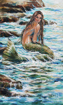 Poster featuring the painting Tidepool by Linda Olsen