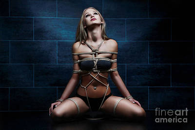 Tied In Rope Harness - Fine Art Of Bondag Poster
