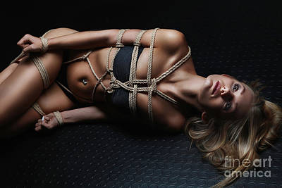 Tied Up Girl, Rope Harness - Fine Art Of Bondage Poster