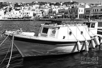 Tied Up In Mykonos Town Mono Poster by John Rizzuto