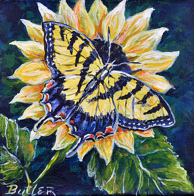 Tiger And Sunflower Poster by Gail Butler