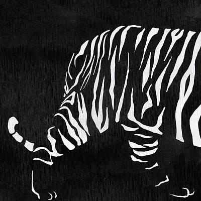 Tiger Animal Decorative Black And White Poster 18 - By Diana Van Poster