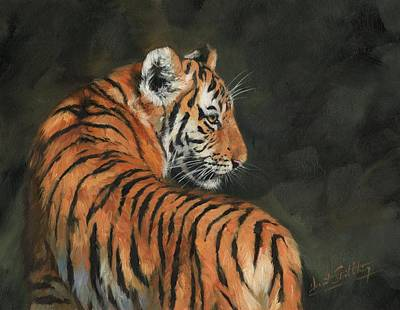 Poster featuring the painting Tiger At Night by David Stribbling